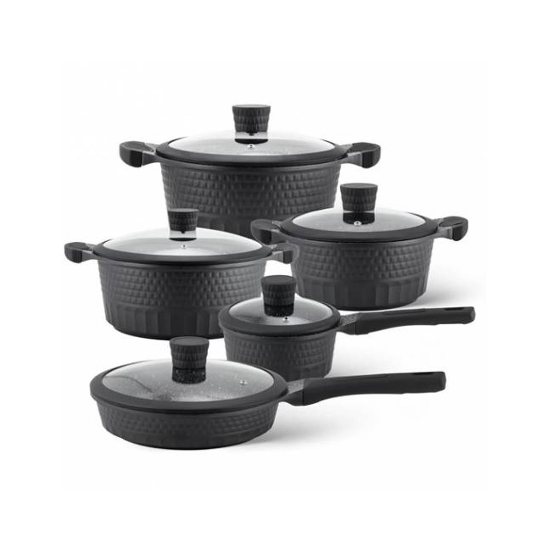 Dagaanbieding - Edënbërg Black Line - 10-delige Luxe Pannenset van Gesmeed Aluminium dagelijkse koopjes