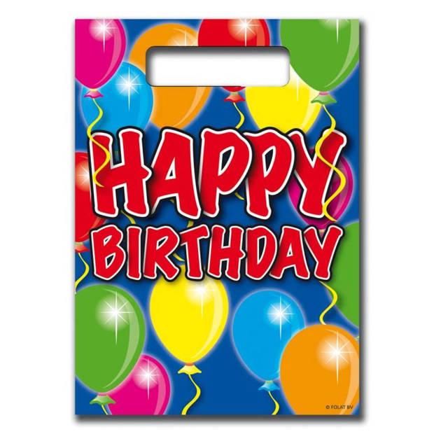 Happy birthday feestzakjes ballonnen - 8 stuks