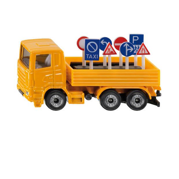 Siku vrachtauto met verkeersborden