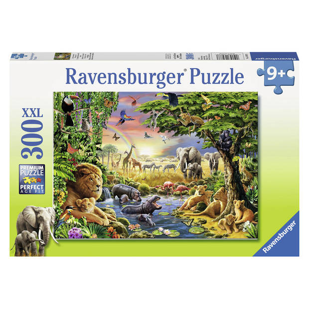 Ravensburger puzzel Avondzon bij de drinkplaats - 300 stukjes