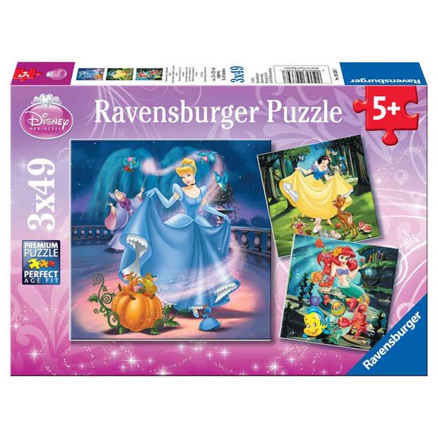 Ravensburger puzzel Disney Princess met hun vriendjes - 3 x 49 stukjes