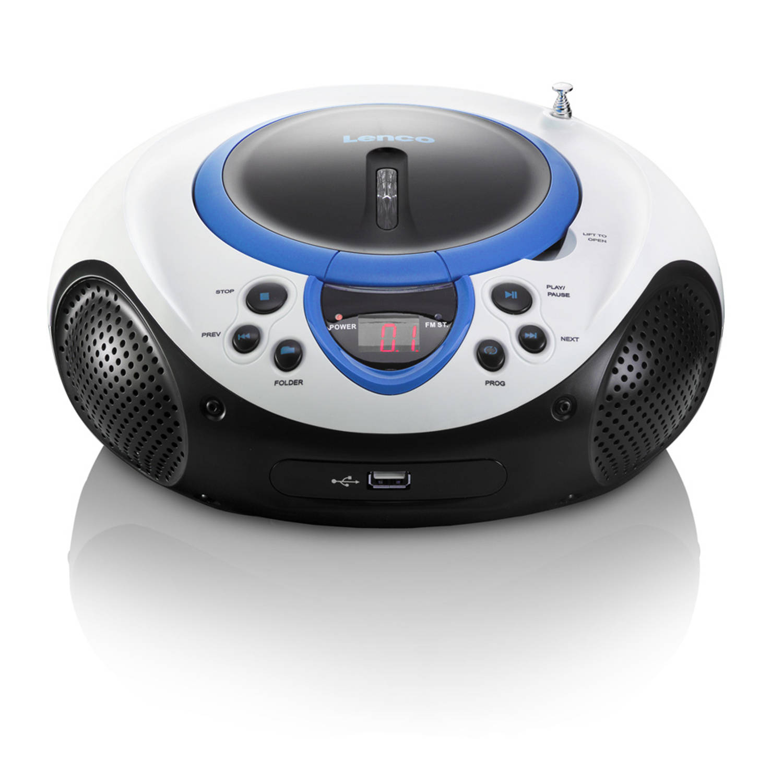 Lenco radio/cd-speler scd-38 - blauw