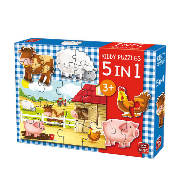 King puzzel 5-In-1 boerderij - 2 + 3 + 4 + 6 + 12 stukjes