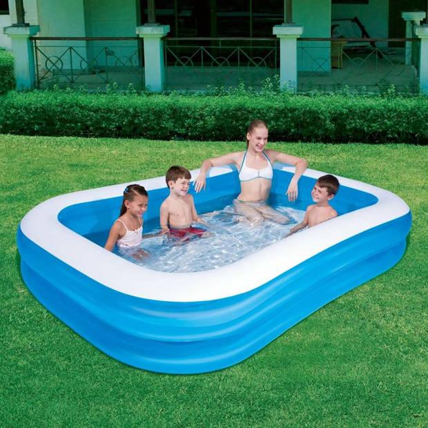 Bestway familiezwembad - 262x175x51 cm - blauw/wit
