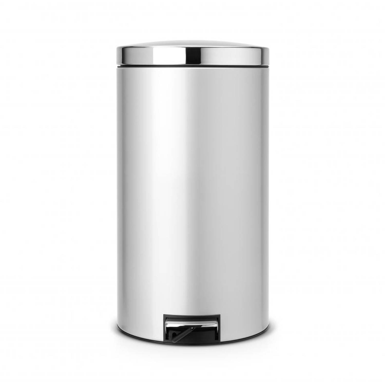 Brabantia Silent Pedaalemmer 45 Liter Met Kunststof Binnenemmer - Metallic Grey - Brilliant Steel