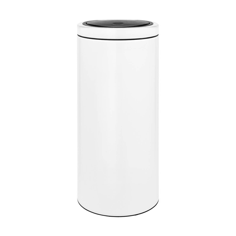 Korting Brabantia Touch Bin Flat Top Afvalemmer 30 Liter Met Kunststof Binnenemmer White