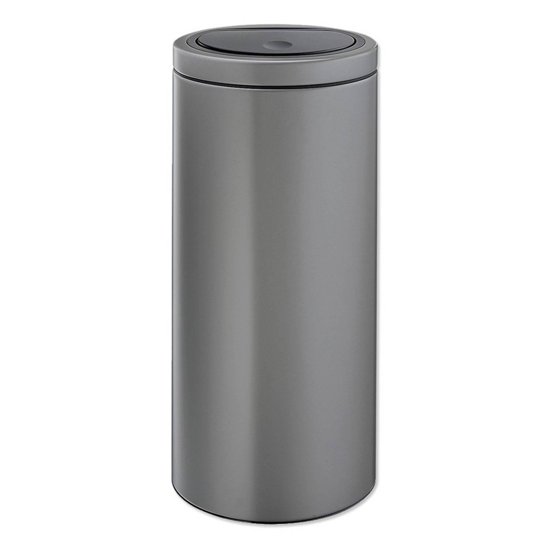 Korting Brabantia Touch Bin Flat Top Afvalemmer 30 Liter Met Kunststof Binnenemmer Platinum