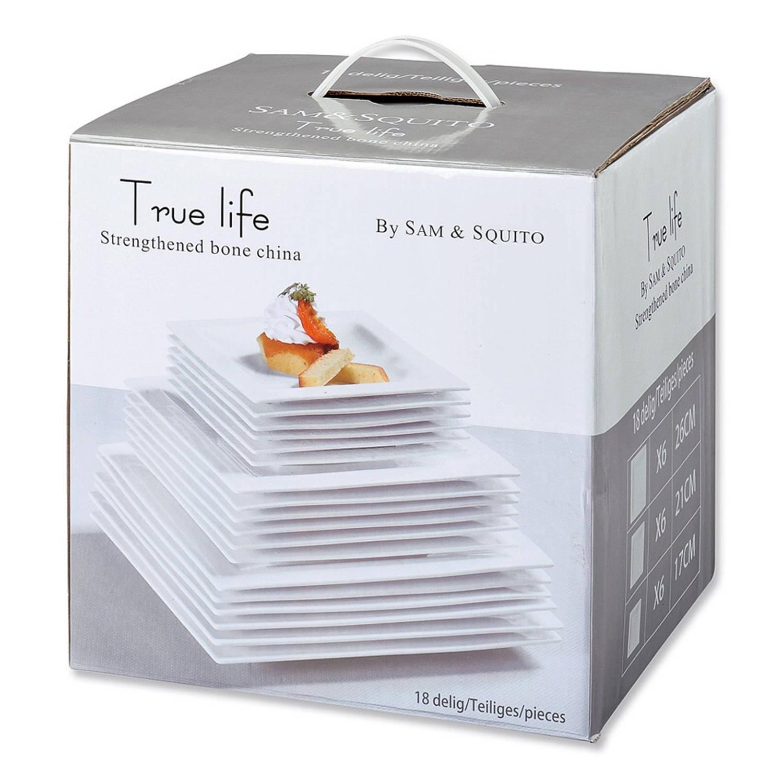 Korting True Life serviesset wit 18 delig 6 persoons