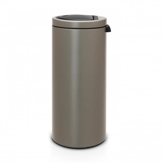 Brabantia Touch Bin Flat Top afvalemmer 30 liter met kunststof binnenemmer - Platinum