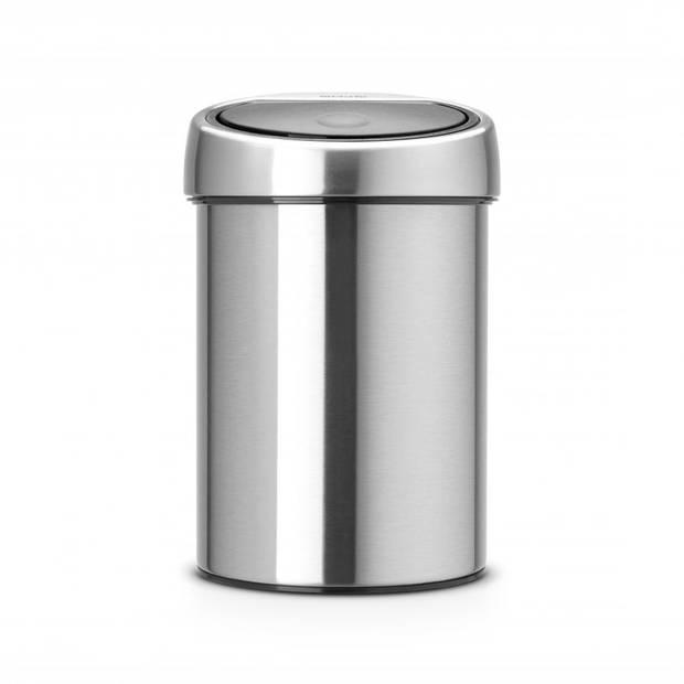 Brabantia Touch Bin wandafvalemmer 3 liter met kunststof binnenemmer - Matt Steel Fingerprint Proof