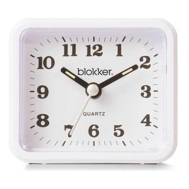 Blokker quartzwekker - wit - 7,5x6,5x3,5 cm