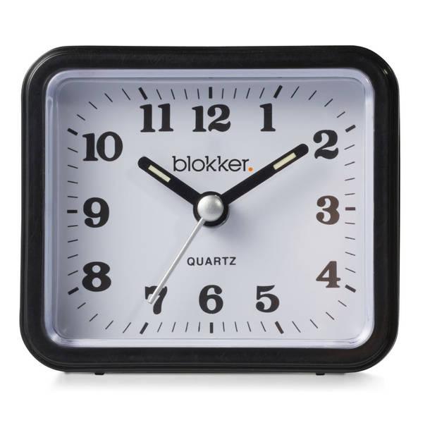 Blokker quartzwekker - zwart - 7,5x6,5x3,5 cm