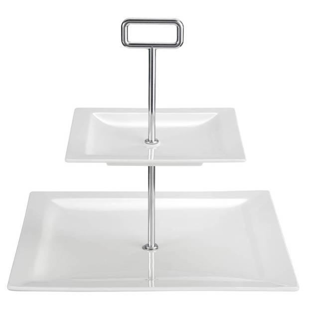 True Life etagère - 2-laags - zilverkleurig/wit