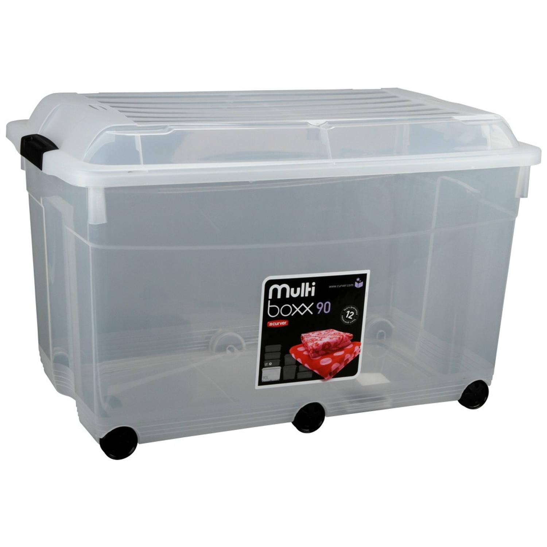 Curver Jumbo Multiboxx opbergbox 90 liter -transparant