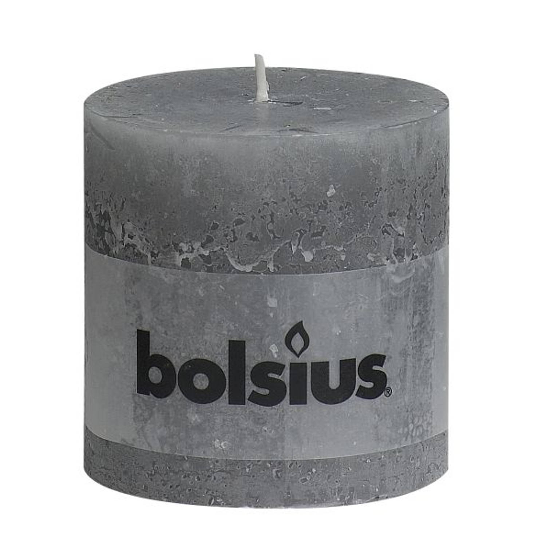 Bolsius rustiek stompkaars 100/100 grijs Rustiekkaarsen