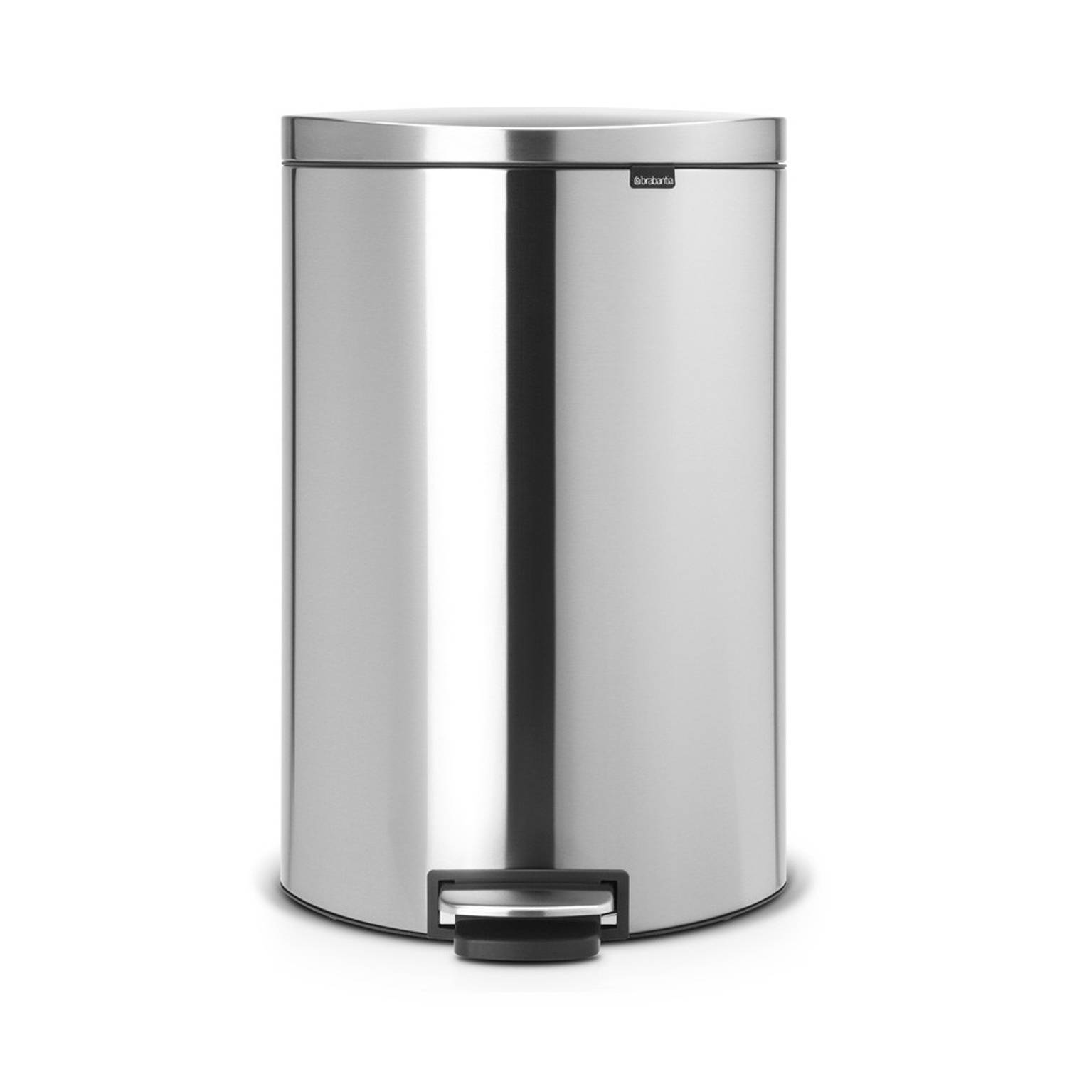 Brabantia FlatBack+ prullenbak - 40 L - Matt Steel Fingerprint Proof