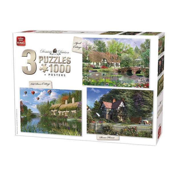 King Cottage puzzel 3 in 1 - 3 x 1000 stukjes