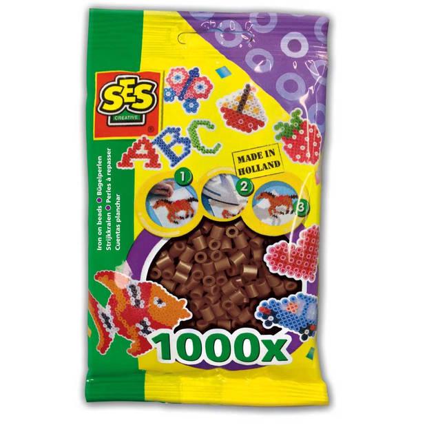 SES Creative strijkkralen - 1000 kralen - donkerbruin