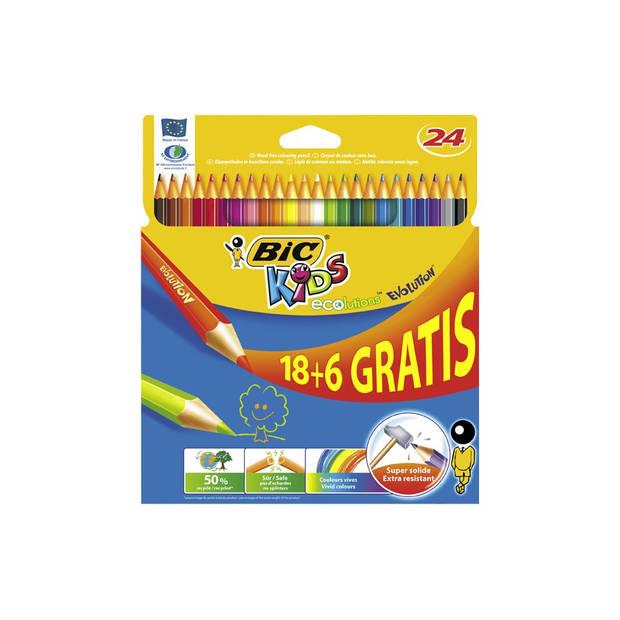 BIC Kids Kleurpotloden Evolution 18+6 - multikleur