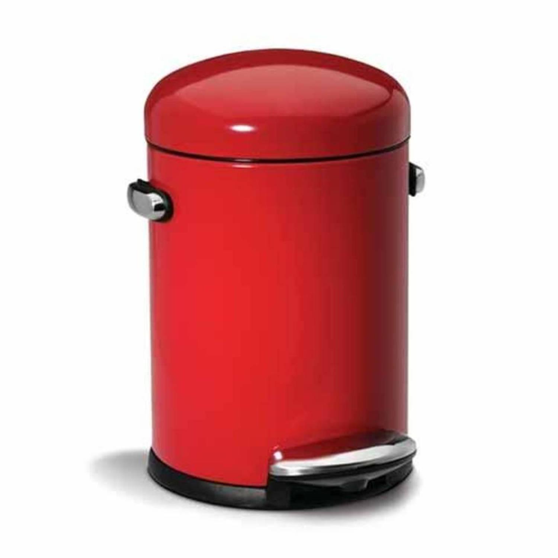 simplehuman retro pedaalemmer 4 5 liter rood blokker. Black Bedroom Furniture Sets. Home Design Ideas