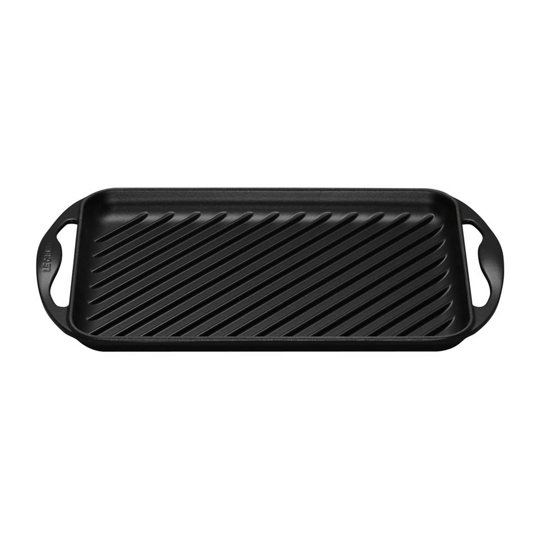 Le Creuset grillplaat - gietijzer - 32,5 x 22 cm - mat zwart