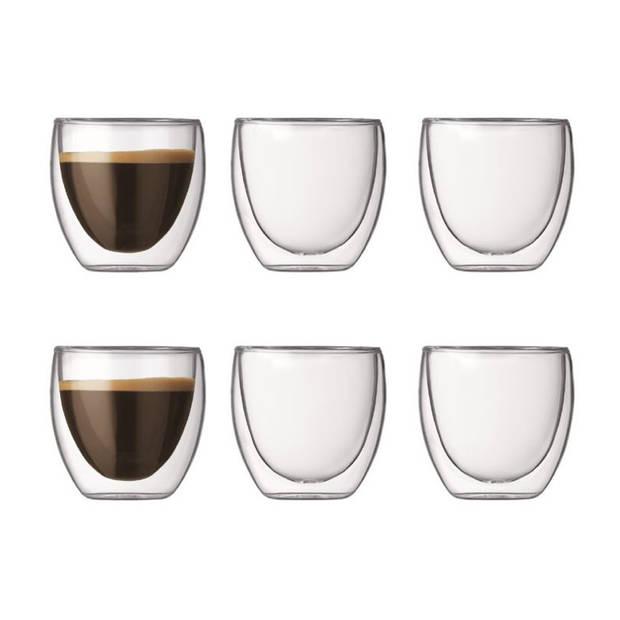 Bodum Pavina dubbelwandig glas - 8 cl - 6 stuks