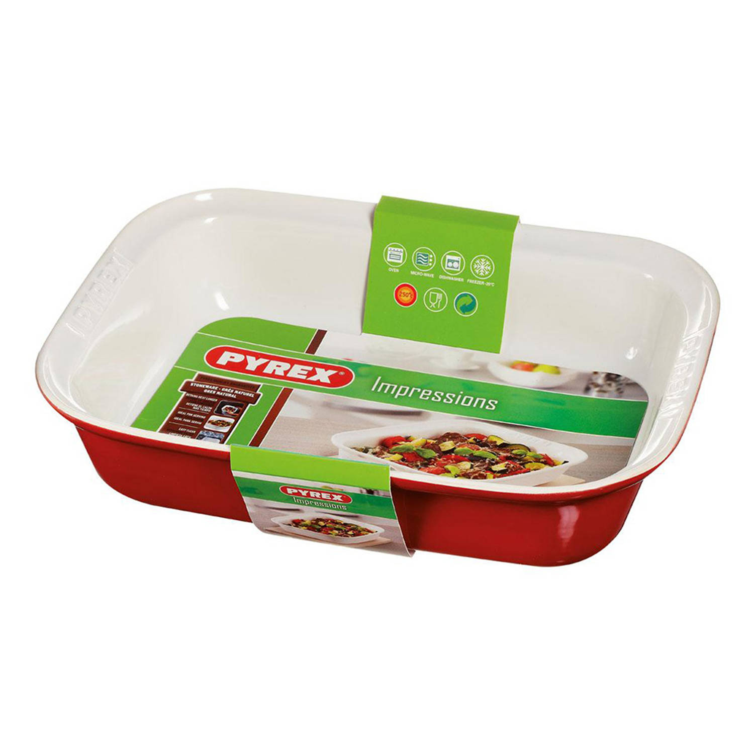 Pyrex Impressions ovenschaal - 33 x 24 cm - rood