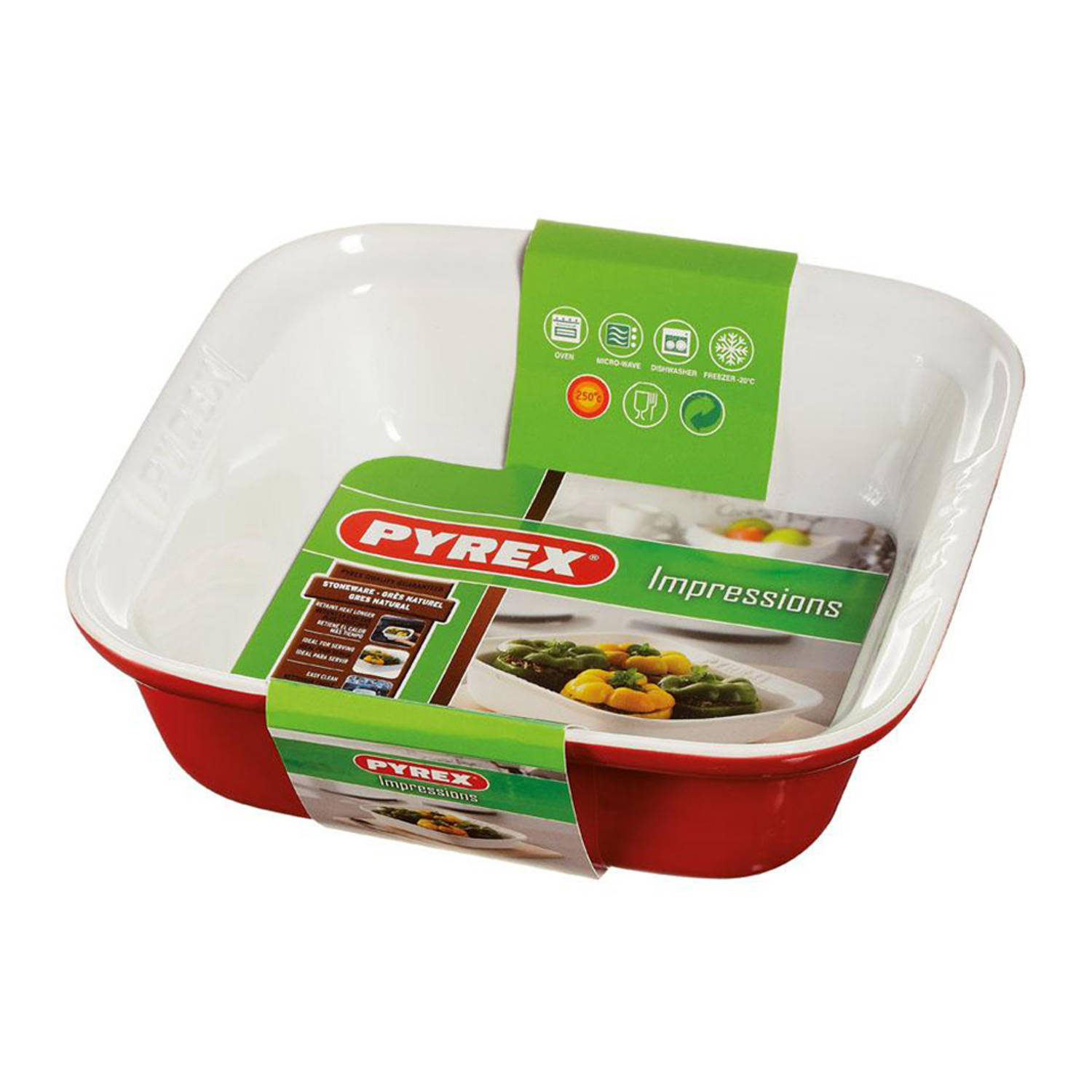 Pyrex Impressions ovenschaal - 24 x 24 cm - rood