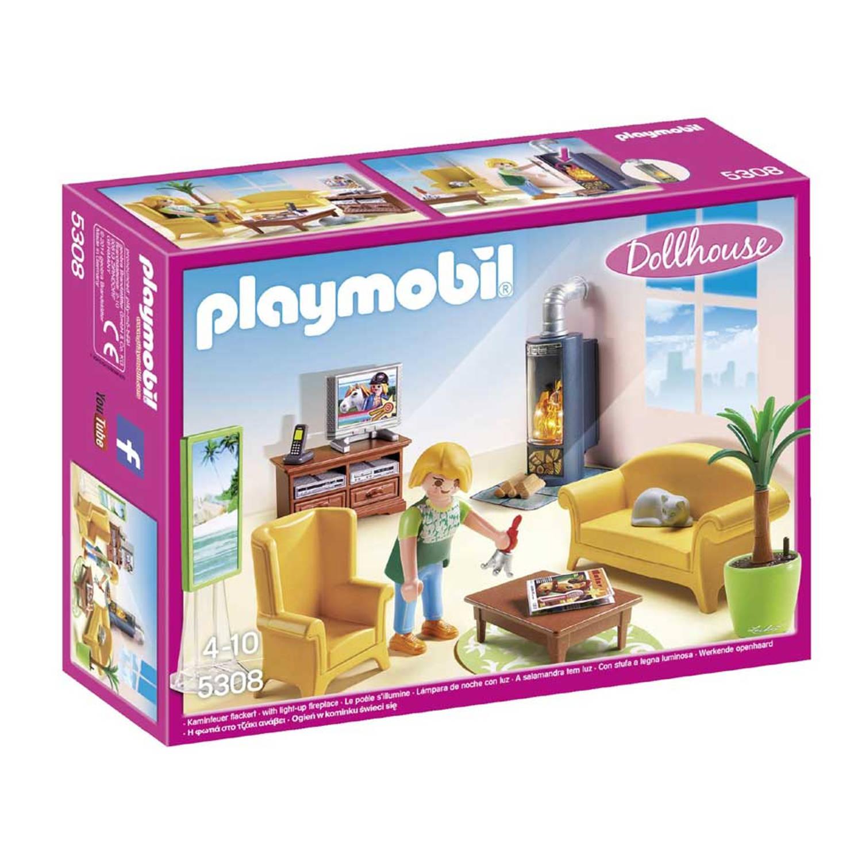 Playmobil Dollhouse woonkamer met houtkachel 5308 | Blokker