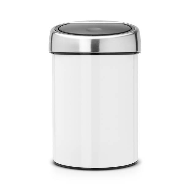 Brabantia Touch Bin wandafvalemmer 3 liter met kunststof binnenemmer - White / Brilliant Steel