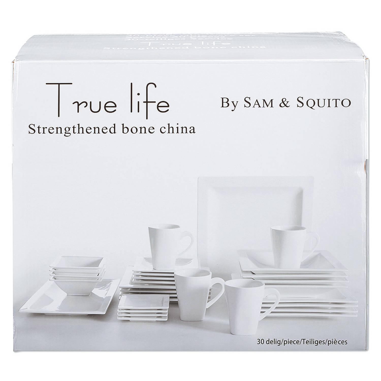 Korting True Life serviesset wit 30 delig 4 persoons