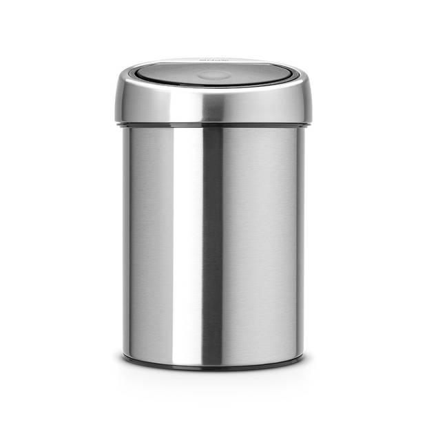Brabantia Touch Bin wandafvalemmer 3 liter met kunststof binnenemmer - Matt Steel