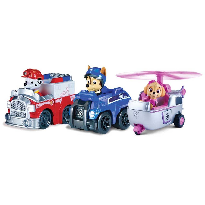 Paw Patrol Rescue Racers Set Van 3 Pup Racers - Marshall + Chase + Skye