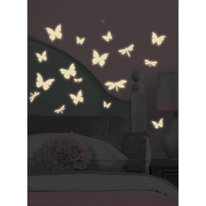 Muursticker Roommates: Vlinder & Libelle Glow 11,8x6,3 cm
