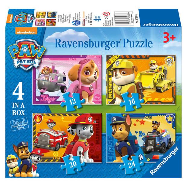Ravensburger puzzel 4-in-1 PAW Patrol op pad - 12 + 16 + 20 + 24 stukjes