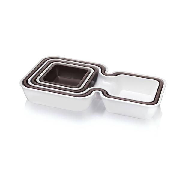 Tomorrow's Kitchen stapelbare bakjes - 6 stuks - wit/grijs