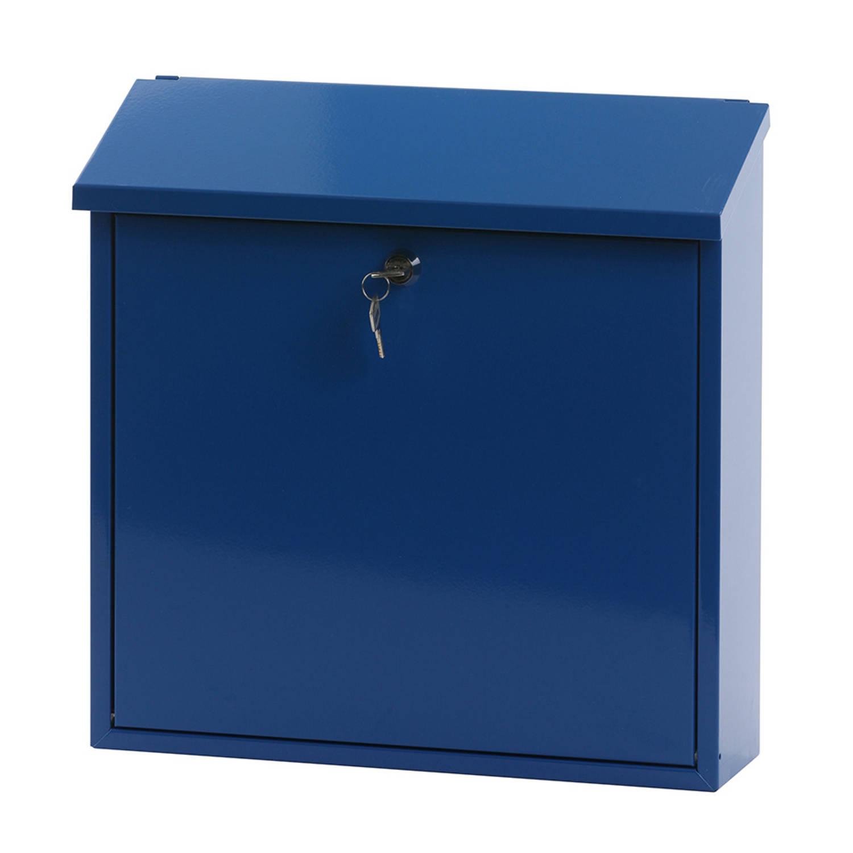 V-Part Malagan wandbrievenbus - 11,5 x 37 x 37 cm - staal - blauw