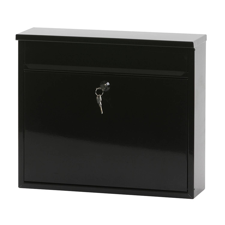 V-Part Granadan wandbrievenbus - 11 x 36 x 31,5 cm - staal - zwart