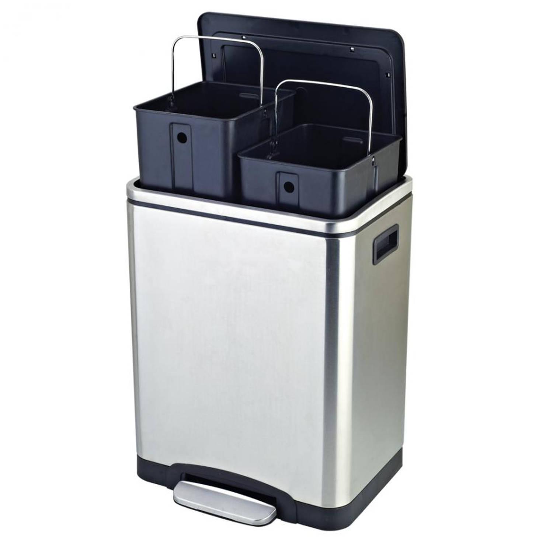Easybin Pedaalemmer Rvs 30 Liter Met Binnenemmer.Easybin Silver Duo Recycle Bin 2 X 15 L Rvs