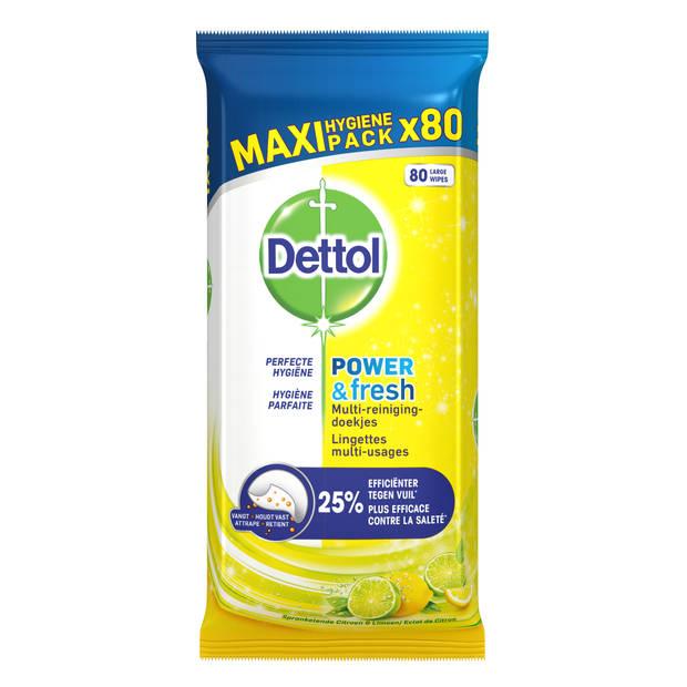 Dettol Power And Fresh Citrus multi-reinigingsdoekjes - 80 stuks