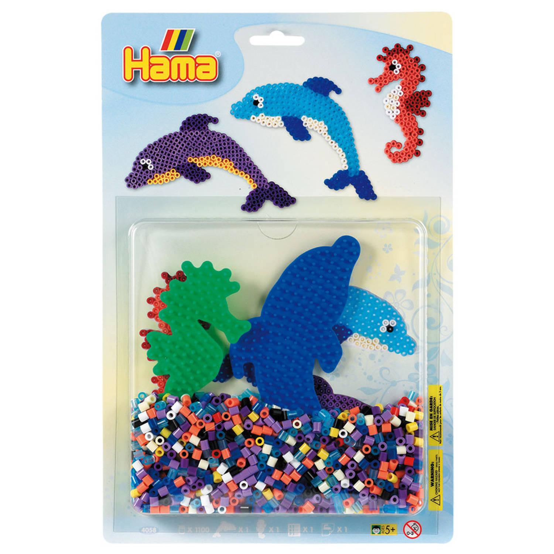 Strijkkralenbord dolfijn en zeepaardje