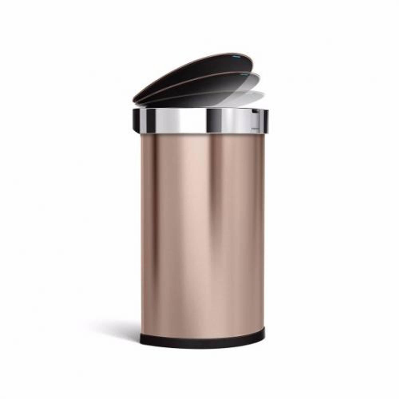 Afvalemmer semi round - sensor - rvs - incl. Liner pocket - 45 liter - rose gold - simplehuman