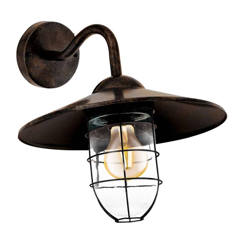 EGLO buiten- wandlamp Melgoa - antiek koper - glas