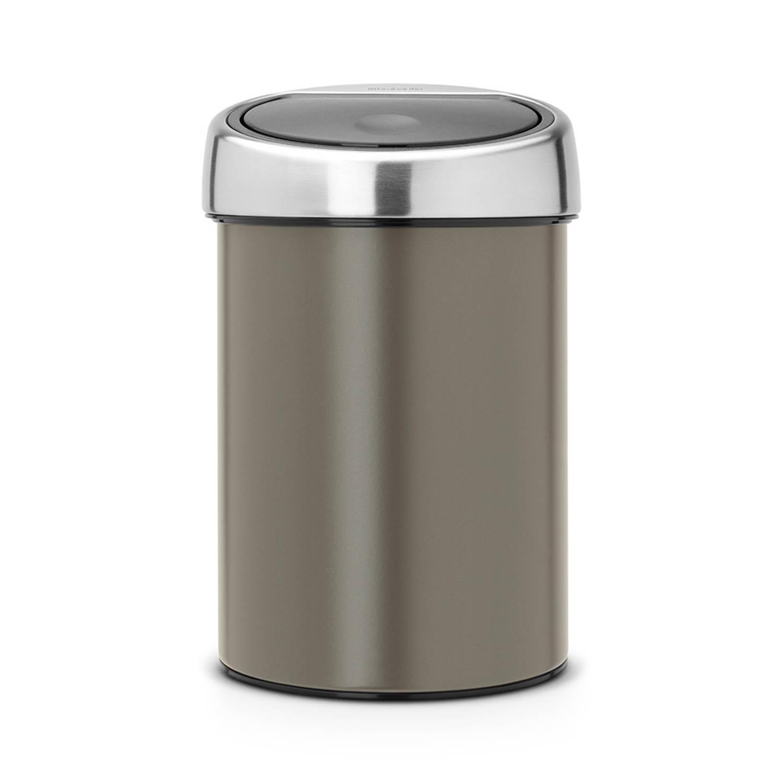 Brabantia Touch Bin wandafvalemmer 3 liter met kunststof binnenemmer - Platinum - Matt Steel