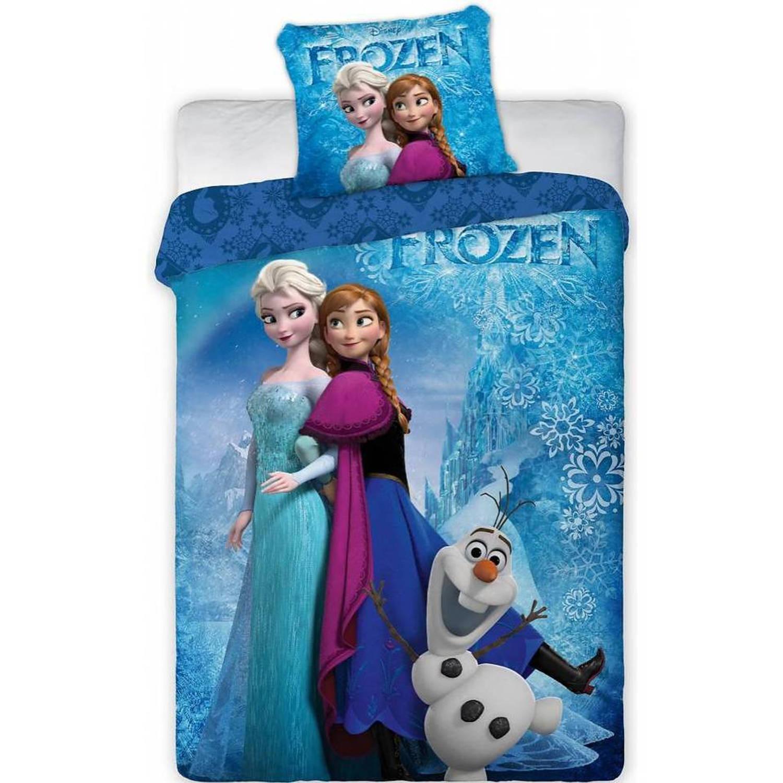 Disney Frozen dekbedovertrek Elsa + Anna + Olaf - 140 x 200 cm - blauw