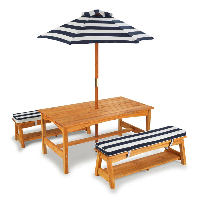 Buitenset Van Tafel En Bankjes + Kussens En Parasol - Marineblauw Met Witte Strepen