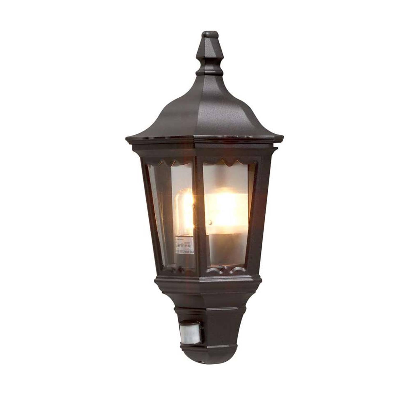 Konstsmide wandlamp Firenze - zwart - 49,5 cm - bewegingsmelder