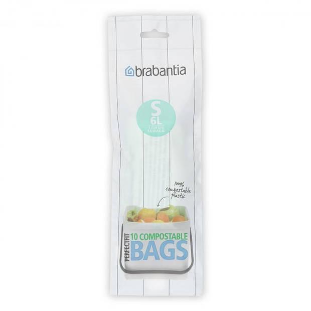 Brabantia PerfectFit composteerbare afvalzak code S, 6 liter, 10 stuks/rol - Green