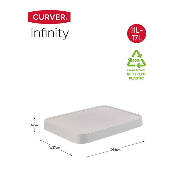 Curver Infinity Deksel - 11+17L - Lichtgrijs - 100% Recycled