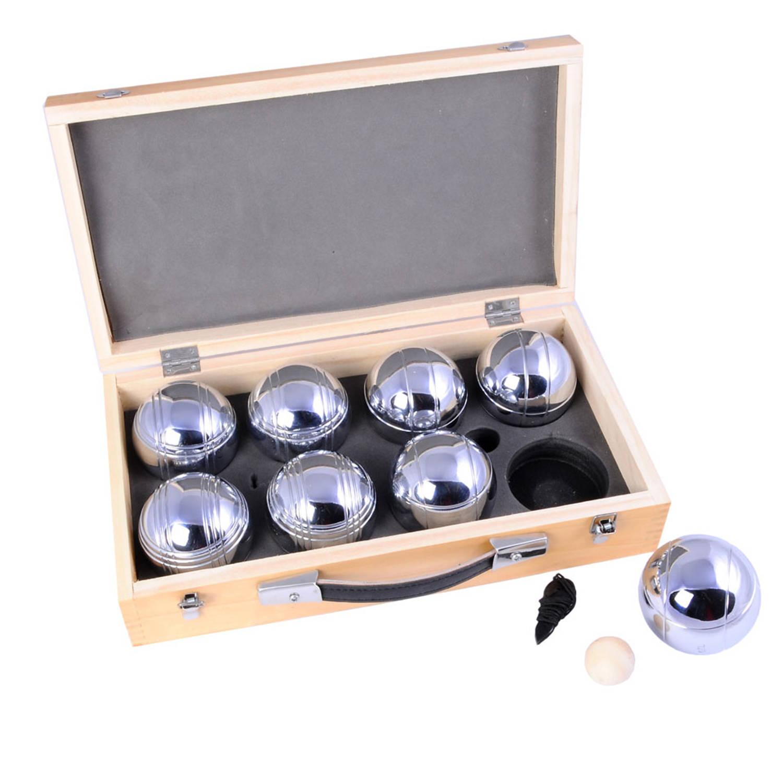 Afbeelding van Angel Sports jeu de boules ballen in luxe houten koffer - 8 stuks